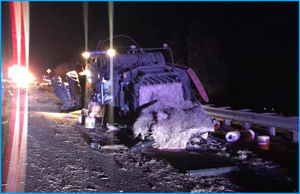 Log truck and tractor accident closes Highway 395 Wednesday night