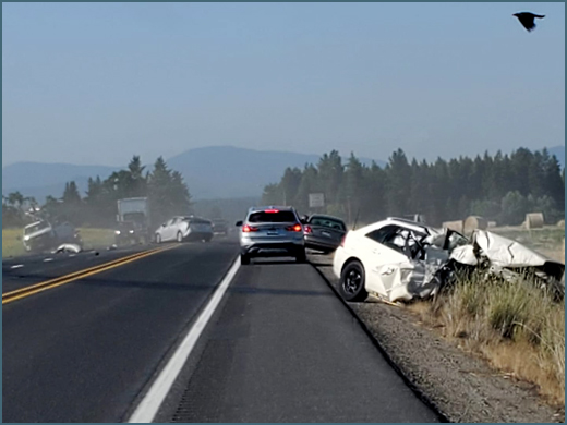 Driver in four vehicle Highway 395 accident arrested on vehicular