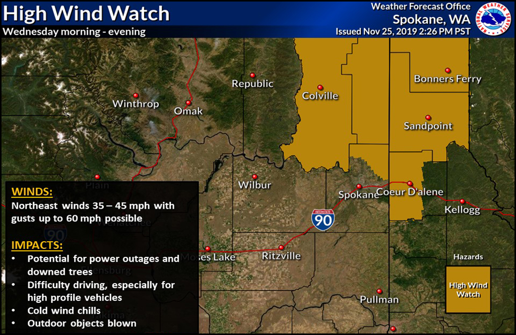 High Wind Watch issued for Wednesday, Nov. 27